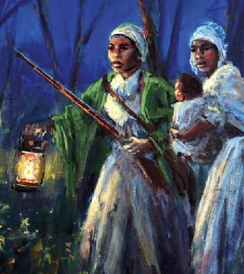Painting of a slaves escaping at night